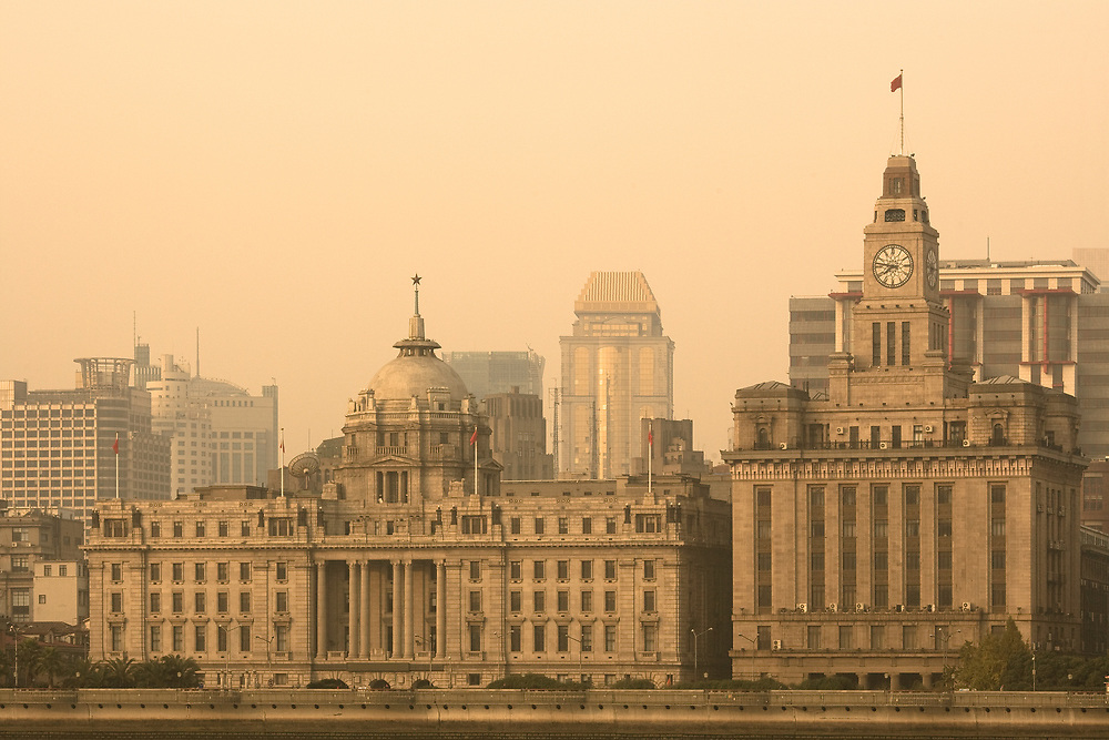 The Bund skyline across the Huangpu river from Pudong, Shanghai, China, Asia