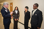 Memorial Hermann Chief Operating Officer Tom Flanagan, left, talks with students Brinajor Barrett, Samuel Cardenas and Dominic Franklin during the Hartman Middle School Health and Medical wing dedication, April 3, 2014.