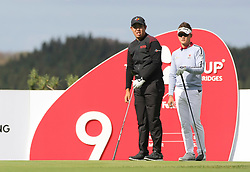 Oct 18, 2018-Jeju, South Korea-Byeong Hun An and Tae Hee Lee of South Korea action on the 9th tee during the PGA Golf CJ Cup Nine Bridges Round 1 at Nine Bridges Golf Club in Jeju, South Korea.
