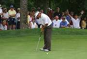 Jun 26, 2006; Gaylord MI; USA;  Fred Couples watches his birdie putt on the final hole of the 2006 ING Par-3 Shootout at Treetops Resort in Gaylord Michigan roll in for a skin and the win.