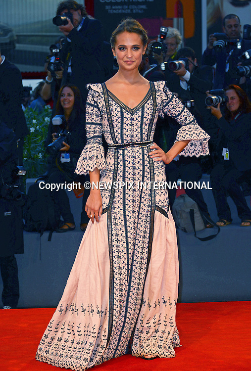 05.09.2015; Venezia, Italy: ALICIA VIKANDER<br /> atttends the &quot;The Danish Girl&quot; premiere at the 72nd Venice International Film Festival.<br /> Mandatory Credit Photo: &copy;NEWSPIX INTERNATIONAL<br /> <br /> **ALL FEES PAYABLE TO: &quot;NEWSPIX INTERNATIONAL&quot;**<br /> <br /> PHOTO CREDIT MANDATORY!!: NEWSPIX INTERNATIONAL(Failure to credit will incur a surcharge of 100% of reproduction fees)<br /> <br /> IMMEDIATE CONFIRMATION OF USAGE REQUIRED:<br /> Newspix International, 31 Chinnery Hill, Bishop's Stortford, ENGLAND CM23 3PS<br /> Tel:+441279 324672  ; Fax: +441279656877<br /> Mobile:  0777568 1153<br /> e-mail: info@newspixinternational.co.uk