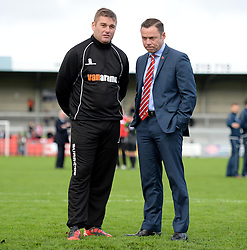 Weston's Manger Micky Bell and Doncaster Rovers Manager, Paul Dickov inspect the pitch prior to kick off. - Photo mandatory by-line: Alex James/JMP - Mobile: 07966 386802 - 08/11/2014 - SPORT - Football - Weston-super-Mare - Woodspring Stadium - Weston-super-Mare v Doncaster - FA Cup - Round One