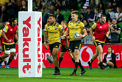March 30, 2018 - Melbourne, VIC, U.S. - MELBOURNE, AUSTRALIA - MARCH 30 : Beauden Barrett of the Wellington Hurricanes celebrates his try with Vince Aso of the Wellington Hurricanes during Round 7 of the Super Rugby Series between the Melbourne Rebels and the Wellington Hurricanes on March 30, 2018, at AAMI Park in Melbourne, Australia. (Photo by Jason Heidrich/Icon Sportswire) (Credit Image: © Jason Heidrich/Icon SMI via ZUMA Press)