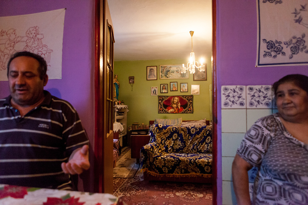 "Justina Korckovska, and her husband  Julius Korckovsky in their house at the Roma part of the district ""Podsadek"" (2016). The town of Stara Lubovna has a population of 16350, of whom 2 060 (13%) are of Roma origin. The majority of Roma live in the Podsadek district, where 980 (74%) out of 1330 inhabitants are Roma."