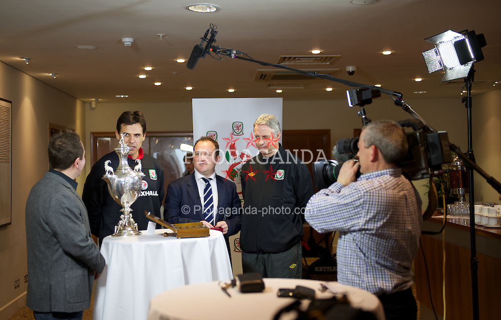 CARDIFF, WALES - Monday, February 27, 2012: Sgorio's Dylan Ebenezer prepares for the draw for the Welsh Cup at the St. David's Hotel. (Pic by David Rawcliffe/Propaganda).+++ This image is free to use in conjunction with stories about the Welsh Cup. +++