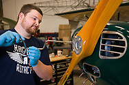 Kyle Bushman of Ragwood Refactory installs the propeller on an Interstate Cadet.