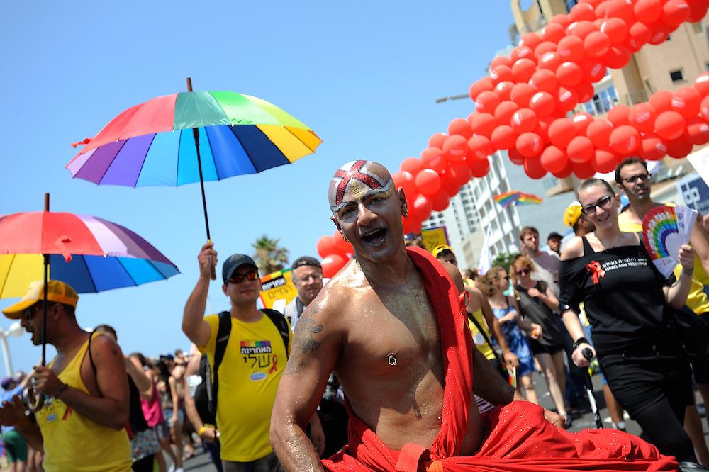 Tel Aviv, Israel - June 13, 2014: Members of the gay comminuty take part in the Annual Gay Pride Parade in Tel Aviv on June 13, 2014. More than 100,000 people took part in the Annual Gay Pride Parade in Tel Aviv. Photo by Gili Yaari