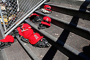 DETROIT, MI - APRIL 19: General view of Los Angeles Angels hats and gloves on the dugout steps during the game against the Detroit Tigers at Comerica Park on April 19, 2014 in Detroit, Michigan. The Tigers won 5-2. (Photo by Joe Robbins)
