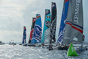 Jockeying for position seconds from the start.  Day four of the Extreme Sailing Series Regatta at Nice. 5/10/2014