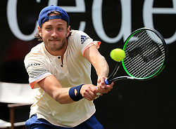 STUTTGART, June 17, 2018  Lucas Pouille of France returns a shot during the singles semifinal of ATP Mercedes Cup tennis tournament against Milos Raonic of Canada in Stuttgart, Germany on June 16, 2018. Lucas Pouille lost 0-2. (Credit Image: © Philippe Ruiz/Xinhua via ZUMA Wire)