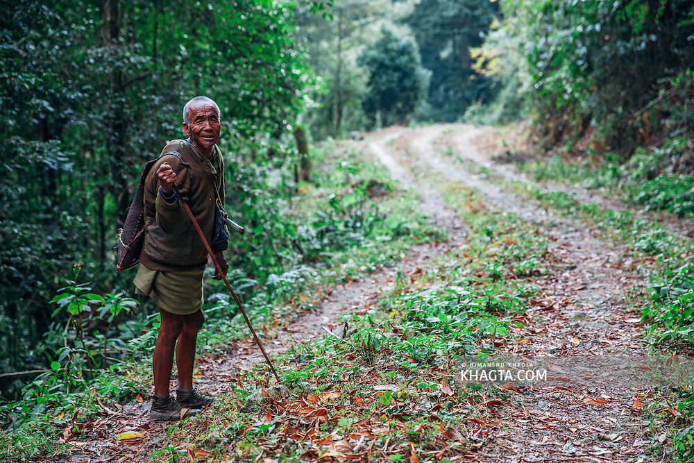 Portrait of a man from apatani tribe in the Talle Wildlife sanctuary in Ziro, Arunachal Pradesh