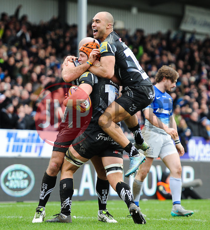 Exeter's Olly Woodbury celebrates only for the try to be disallowed.  - Mandatory byline: Alex Davidson/JMP - 07/02/2016 - RUGBY - Sandy Park -Exeter,England - Exeter Chiefs v Saracens - Aviva Premiership