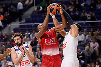Real Madrid's Sergio Llull and Gustavo Ayon and EA7 Emporio Armani Milan's Jamel Mclean during Turkish Airlines Euroleage match between Real Madrid and EA7 Emporio Armani Milan at Wizink Center in Madrid, Spain. January 27, 2017. (ALTERPHOTOS/BorjaB.Hojas)