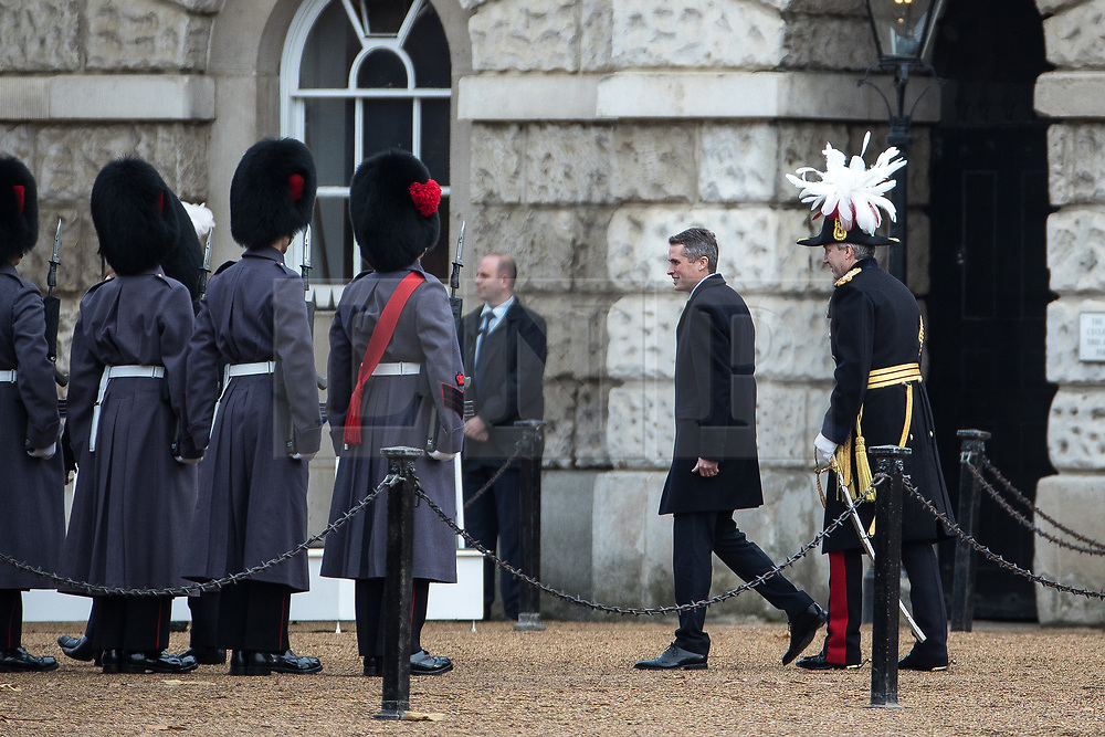 © Licensed to London News Pictures . 20/11/2017. London, UK. British Defence Secretary GAVIN WILLIAMSON on Horse Guards Parade with French Minister of Armed Forces Florence Parly . Photo credit: Joel Goodman/LNP