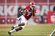 FAYETTEVILLE, AR - OCTOBER 31:  Damon Mitchell #7 of the Arkansas Razorbacks runs the ball during a game against the UT Martin Skyhawks at Razorback Stadium on October 31, 2015 in Fayetteville, Arkansas.  The Razorbacks defeated the Skyhawks 63-28.  (Photo by Wesley Hitt/Getty Images) *** Local Caption *** Damon Mitchell