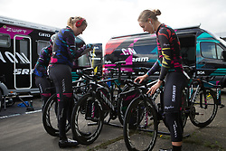 Mieke Kröger (GER) and Hannah Barnes (GBR) of CANYON//SRAM Racing prepare for Stage 2 of the Healthy Ageing Tour - a 19.6 km team time trial, starting and finishing in Baflo on April 6, 2017, in Groeningen, Netherlands.
