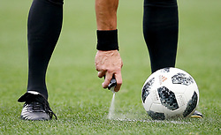 June 14, 2018 - Moscou, Rússia - MOSCOU, MO - 14.06.2018: RUSSIA VS SAUDI ARABIA - Argentine referee Néstor Pitana applies the spray on the pitch to mark a foul spot during the match between Russia and Saudi Arabia valid for the first round of Group A of the 2018 World Cup held at Lujniki Stadium in Moscow, Russia. (Credit Image: © Marcelo Machado De Melo/Fotoarena via ZUMA Press)
