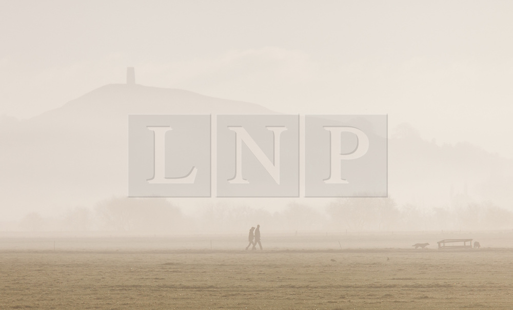 © Licensed to London News Pictures. 18/01/2015. Glastonbury, Somerset, UK. Glastonbury Tor through the mist. A couple walking their dogs on the Somerset levels near Glastonbury Tor this morning, 18th January 2015. Photo credit : Rob Arnold/LNP