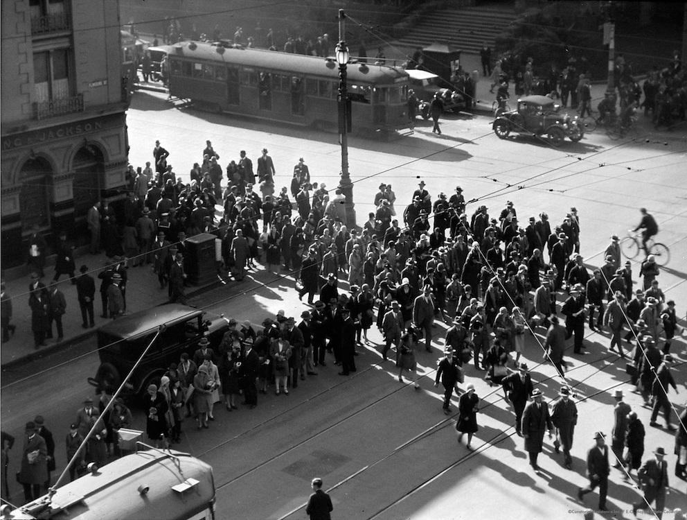 Crowds Crossing Flinders Street, Melbourne, Australia, 1930