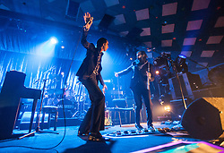 A wide angle shot from the photo pit of Nick Cave and violinist-cum-flautist Warren Ellis, of Nick Cave and the Bad Seeds, on stage tonight at The Barrowlands, Glasgow, Scotland.<br /> &copy;Michael Schofield.