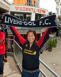 CHARLOTTE, USA - Friday, August 1, 2014: Liverpool supporter Hilary Davenport from Ohio at the Whisky River bar on day twelve of the club's USA Tour. (Pic by David Rawcliffe/Propaganda)
