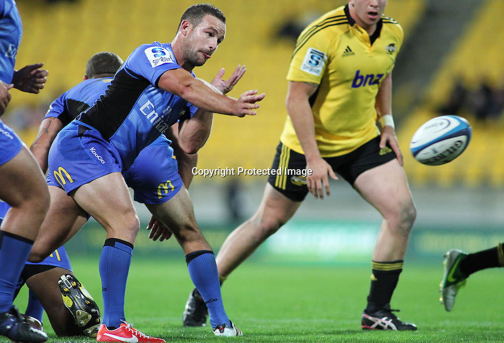 Western Force's Alby Mathewson passes the ball. Investec Super Rugby, Hurricanes V Force at Westpac Stadium, Wellington, Friday 19 April 2013. Photo.: Grant Down / photosport.co.nz