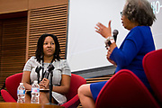Amber Walker, left, listens to Gloria Ladson-Billings at the Cap Times 2017 Idea Fest, Sunday, September 17, 2017