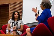 Amber Walker, left, listens to Gloria Ladson-Billings at the Cap Times 2017 Idea Fest, Sunday, September 17, 2017