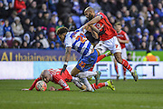 Reading FC midfielder Danny Williams fouled by Walsall FC midfielder Adam Chambers during the The FA Cup fourth round match between Reading and Walsall at the Madejski Stadium, Reading, England on 30 January 2016. Photo by Mark Davies.