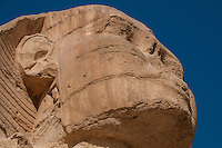 Close up of a head profile of the Sphinx, Giza, Egypt.