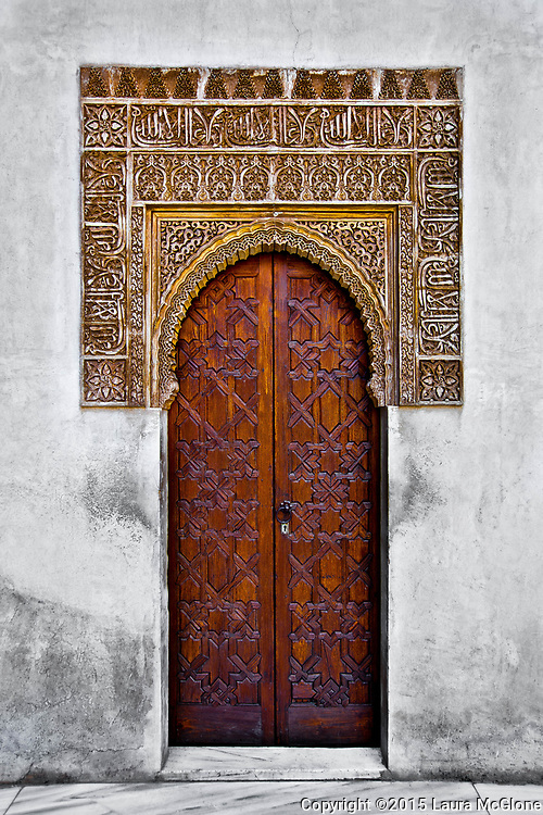 Amazing Moroccan Doorway Carved wood and stone and marble, Morocco