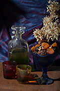 Mediterranean Still life Olive oil and dried fruit