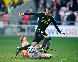 BLACKPOOL, ENGLAND - Wednesday, March 3, 2011: Liverpool's Nikola Saric is fouled by Blackpool's Chris Basham for a penalty, despite the tackle being outside the area, during the FA Premiership Reserves League (Northern Division) match at Bloomfield Road. (Photo by David Rawcliffe/Propaganda)