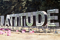 Latitude Festival, Henham Park, Suffolk, UK July 2018. As usual, the sheep are dyed pink