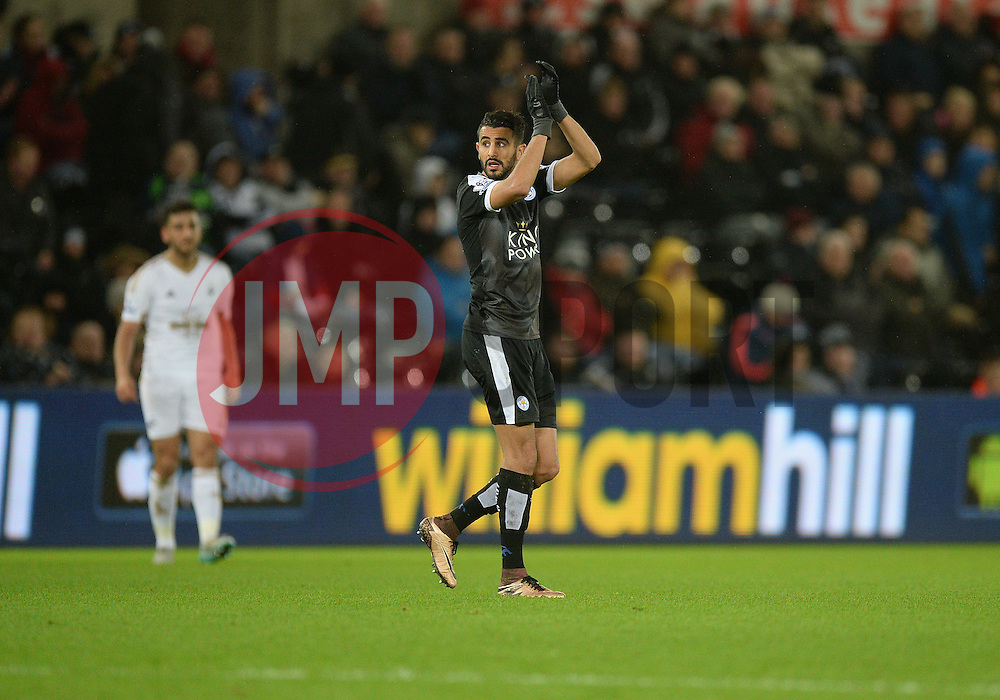 Riyad Mahrez of Leicester City claps the away surpport. - Mandatory byline: Alex James/JMP - 05/12/2015 - Football - Liberty Stadium - Swansea, Wales - Swansea City v Leicester City - Barclays Premier League