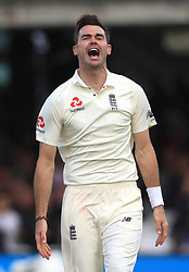 England's James Anderson celebrates taking the wicket of West Indies' Jermaine Blackwood during day three of the Third Investec Test match at Lord's, London.