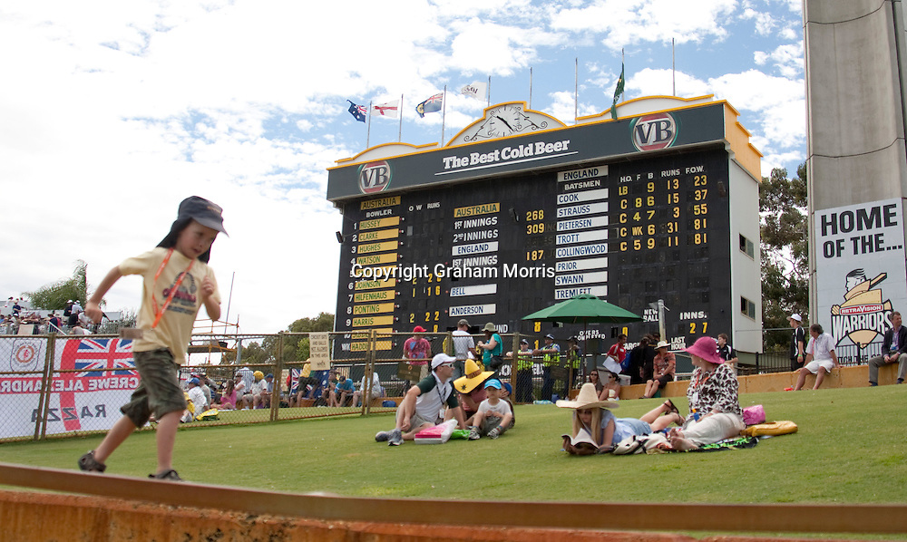 The scoreboard before the fourth day of the third Ashes test match between Australia and England at the WACA (West Australian Cricket Association) ground in Perth, Australia. Photo: Graham Morris (Tel: +44(0)20 8969 4192 Email: sales@cricketpix.com) 19/12/10
