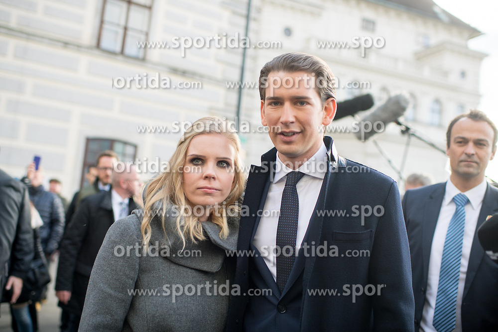 18.12.2017, Ballhausplatz, Wien, AUT, Bundesregierung, Angelobung der neuen Türkis Blauen Bundesregierung, im Bild Bundeskanzler Sebastian Kurz (ÖVP) mit seiner Freundin Susanne Thier am Weg zum Bundeskanzleramt nach der Angelobung // Austrian Federal Chancellor Sebastian Kurz with his girlfirend Susanne Thier during inauguration of the new government of Austrian Peoples Party and Austrian Freedom Party at Ballhausplatz in Vienna, Austria on 2017/12/18 EXPA Pictures © 2017, PhotoCredit: EXPA/ Michael Gruber
