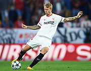 SEVILLE, SPAIN - NOVEMBER 01:  Simon Kjaer of Sevilla FC in action during the UEFA Champions League group E match between Sevilla FC and Spartak Moskva at Estadio Ramon Sanchez Pizjuan on November 1, 2017 in Seville, Spain.  (Photo by Aitor Alcalde Colomer/Getty Images)