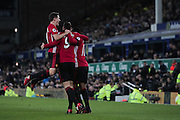 Ander Herrera Midfielder of Manchester United and Anthony Martial Forward of Manchester United celebrate with Zlatan Ibrahimovic Forward of Manchester United after he scores the opening goal of the game to make the score 1-0 during the Premier League match between Everton and Manchester United at Goodison Park, Liverpool, England on 4 December 2016. Photo by Simon Brady.