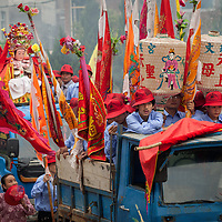 The Wenxing Temple Mazu is loaded on a truck to be transported to meet her sister Mazu icons at the island's main temple. There are 20 Mazu temples on the 6-mile-long island. The main temple is at the site of the first temple erected to the goddess.