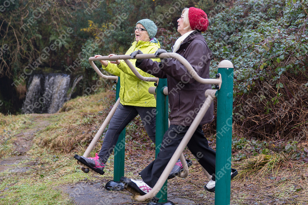 Margaret Slattery and Paggy Quinlivan from Lissycasey warmingm up for the Operation Transformation at the cascades in Lissycasey on Saturday morning