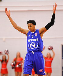 Bristol Flyers' Bree Perine celebrates  - Photo mandatory by-line: Joe Meredith/JMP - Mobile: 07966 386802 - 21/02/2015 - SPORT - Basketball - Bristol - SGS Wise Campus - Bristol Flyers v Plymouth Uni Raiders - British Basketball League