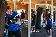 Forest Green Rovers goalkeeper Bradley Collins(1) having a gym sessionduring the Forest Green Rovers Training session at Browns Sport and Leisure Club, Vilamoura, Portugal on 24 July 2017. Photo by Shane Healey.