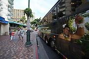 Waikiki Beach. Kalakaua Avenue. The shuttle bus to Polynesian Cultural Center.