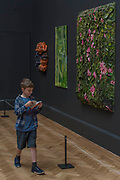 A boy zooms past works in the Lecture Room curated by Fiona Rae - The Royal Academy's 249th Summer Exhibition - co-ordinated by Eileen Cooper RA. The hanging committee will consist of Royal Academicians Ann Christopher, Gus Cummins, Bill Jacklin, Fiona Rae, Rebecca Salter and Yinka Shonibare. This year, the Architecture Gallery will be curated by Farshid Moussavi RA. The exhibition, sponsored by Insight Investment is open to the public 13 June – 20 August 2017. London 07 June 2017.