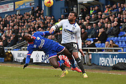 Oldham Athletic Forward, Jonathan Forte and Bury Midfielder, Tom Soares battle down the wing during the Sky Bet League 1 match between Oldham Athletic and Bury at Boundary Park, Oldham, England on 23 January 2016. Photo by Mark Pollitt.