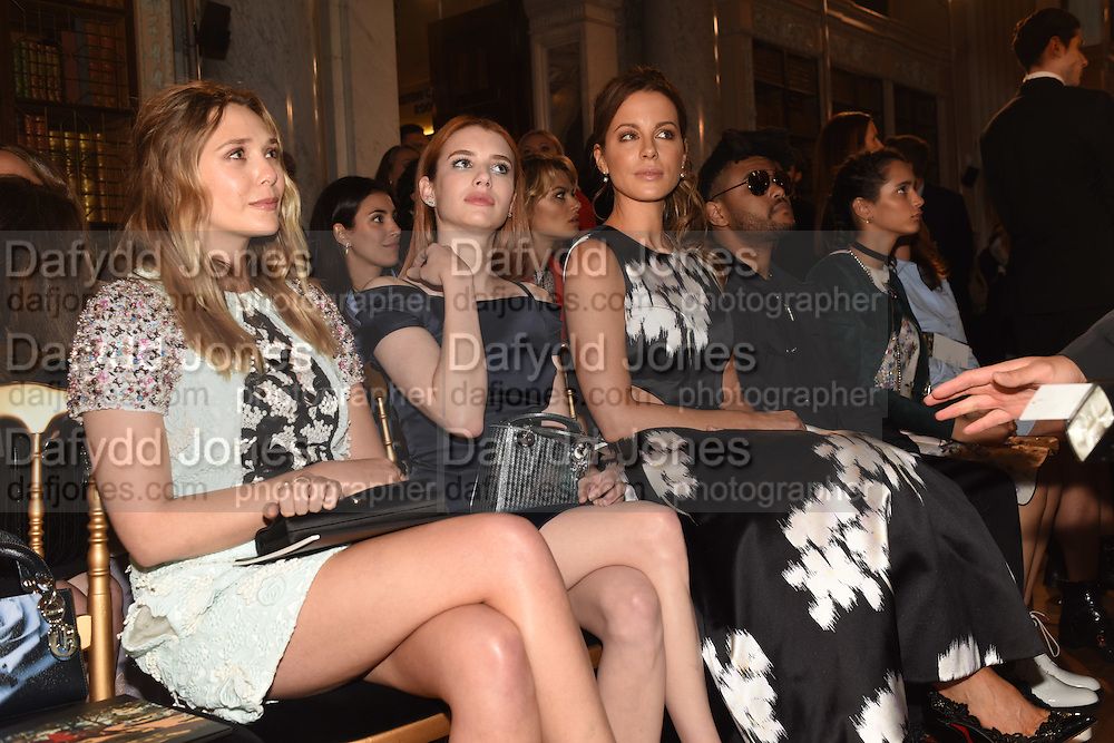ELIZABETH OLSEN; EMMA ROBERTS;  KATE BECKINSALE; WEEKEND, Dior presentation of the Cruise 2017 collection. Blenheim Palace, Woodstock. 31 May 2016
