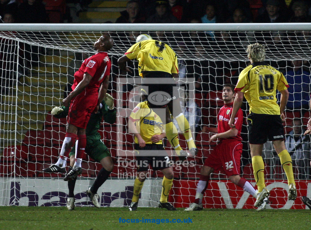 London - Tuesday, March 4th, 2008: Daniel Shittu of Watford scores the opening goal against Norwich City during the Coca Cola Champrionship match at Vicarage Road, London. (Pic by Chris Ratcliffe/Focus Images)