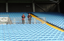 Two Mayo Gaa stewarts keeping an eye on proceedings during the County Junior semi-finals at McHale Park.<br />Pic Conor McKeown